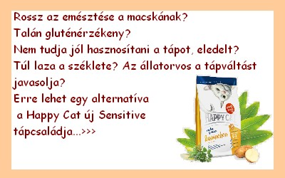 happycat szenzitív táp allergiás macskának