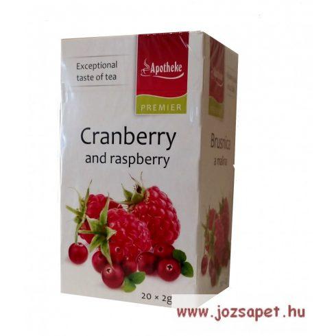 Apotheke - Tőzegáfonya és Málna Tea, 20 filter - Premier Selection
