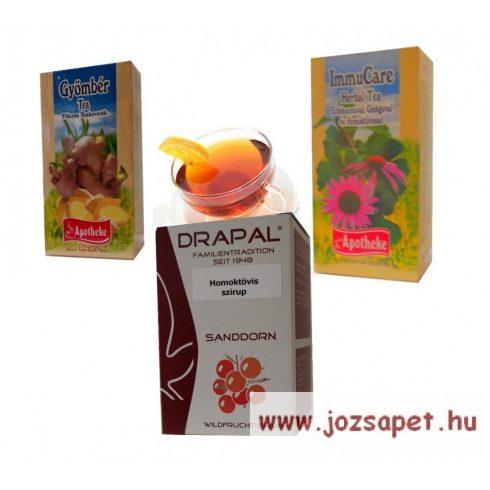 1. Felnőtt csomag: Apotheke ImmuCare Herbal tea és Drapal Homoktövis szirup a strapabíró immunrendszerért