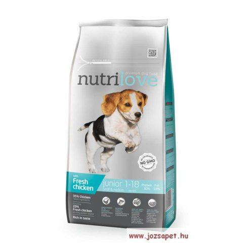 Nutrilove Dog Junior Small & Medium kutyatáp 1,6kg, friss csirkével