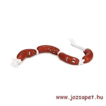 Kötéljáték kutyának, virslik kötélen 65 cm