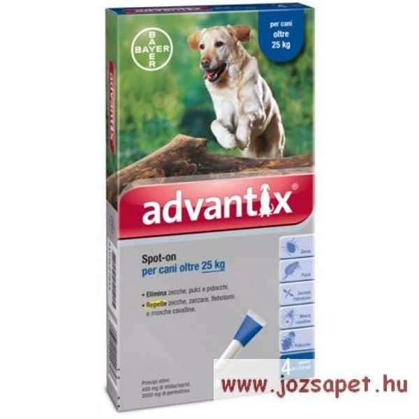 Advantix Spot-On 25kg feletti kutya számára 4ml*4 pipetta