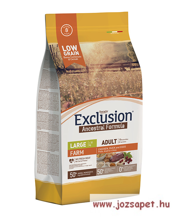 EXCLUSION ANCESTRAL LOW GRAIN ADULT FARM CHICKEN, DUCK AND EGGS LARGE BREED 12kg