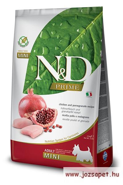 N&D Dog Prime Grain Free Csirke Gránátalma Adult Mini 800g