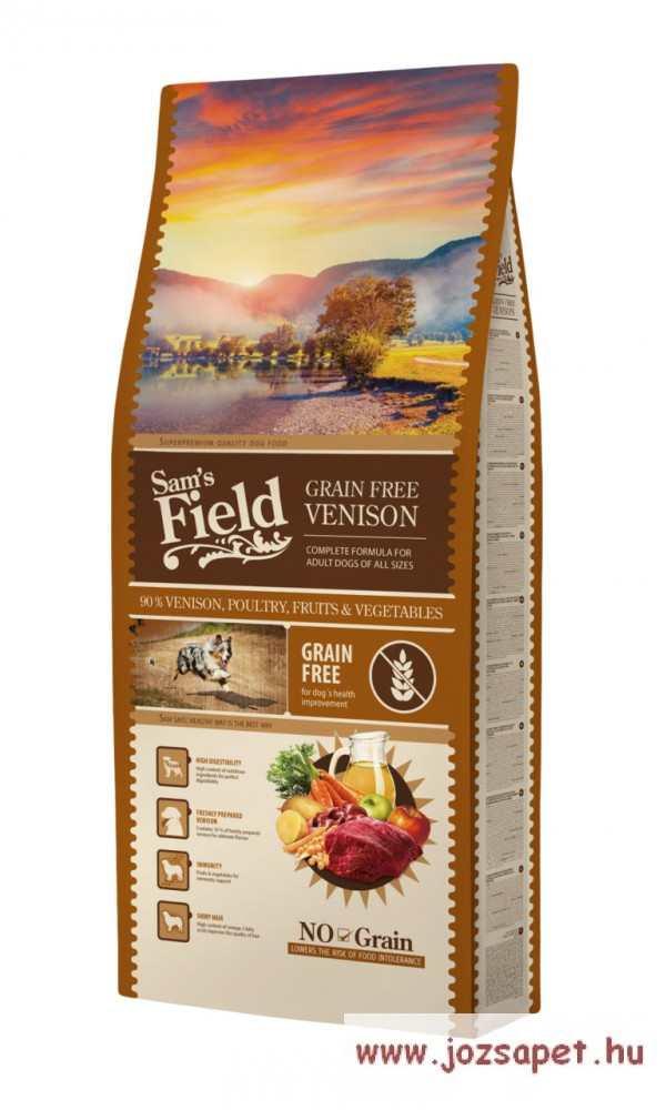 Sam's Field Grain Free, gabonamentes kutyatáp 13kg Szarvashús
